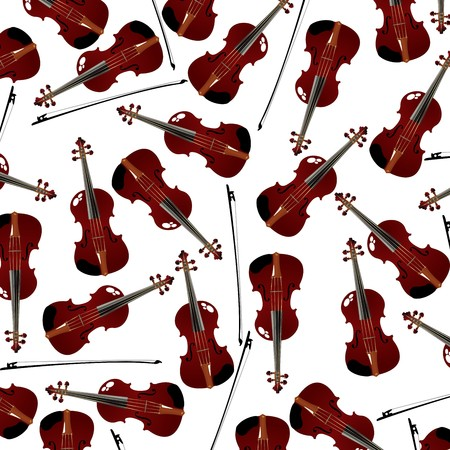 seamless background with red violins and bow photo