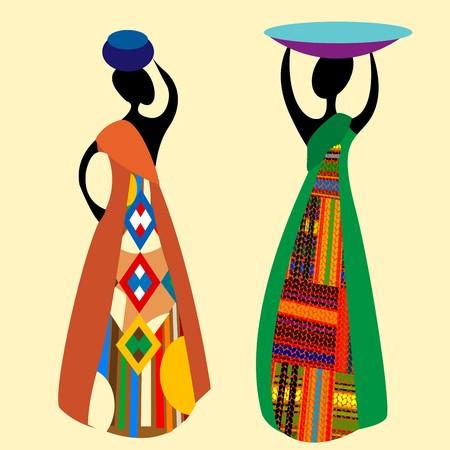 ilustraciones africanas: Ilustraci�n de siluetas de mujeres africanas tradicionales