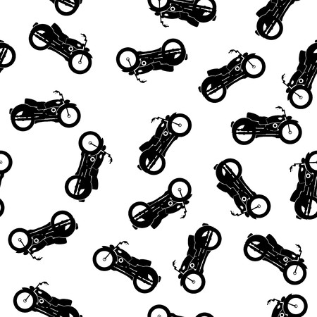 Pattern with motorbike silhouettes over white background Stock Photo - 7072430