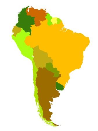 mapa del peru: Mapa de Am�rica del Sur sobre fondo blanco  Foto de archivo