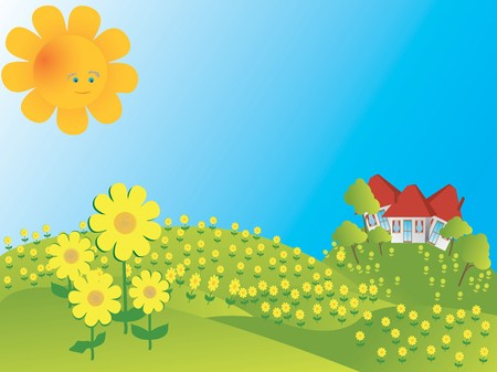 Background illustration with sunflowers Stock Illustration - 7072429