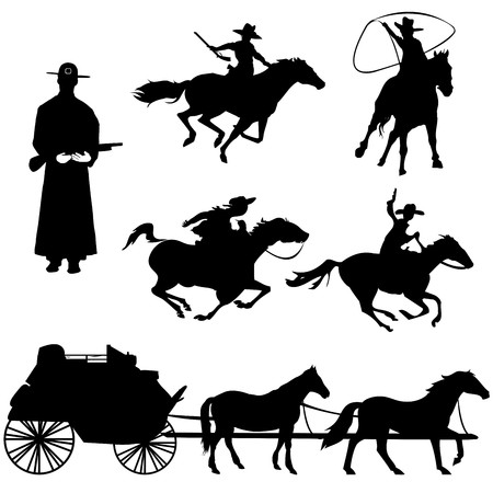 Hand drawn silhouettes of cowboys and horses photo