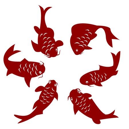 escamas de peces: Siluetas de Carpa koi sobre fondo blanco