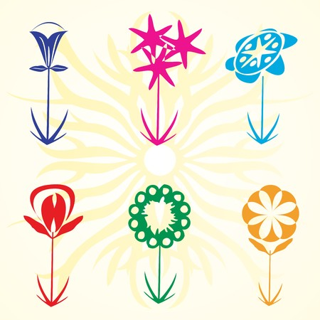 mom and pop: Retro flowers set, design elements