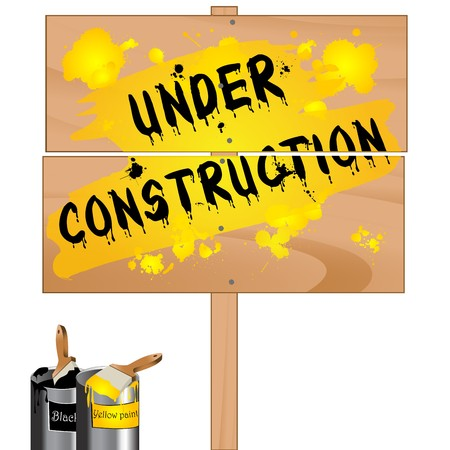 Under construction wood pannel sign Stock Photo - 7101266