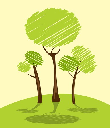 Background with green trees, cartoon sketch Stock Photo - 7127880