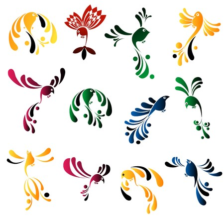 Design elements, stylized birds over white Stock Photo - 7127884
