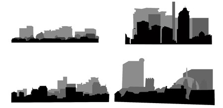buiding: Architectural icons, buiding outlines on white