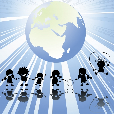 circle of friends: Children silhouettes and Earth globe Stock Photo