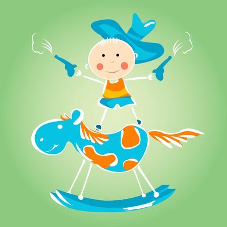 rt: Little kid playing, cartoon illustration
