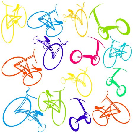 bicycle silhouette:  Hand drawn bicycle Doodles