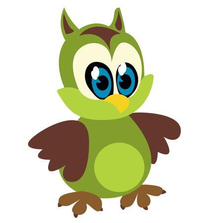 crazy: Funny owl  cartoon sketch over white background