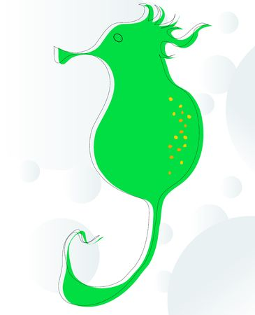 skecth: Background skecth of a stylized sea horse