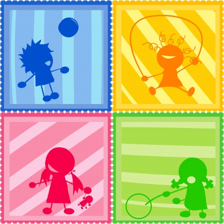 Stamps collection with children silhouettes photo