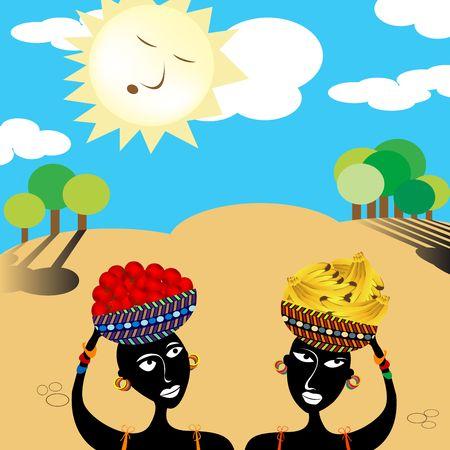 fruit baskets: African women carrying fruit  baskets