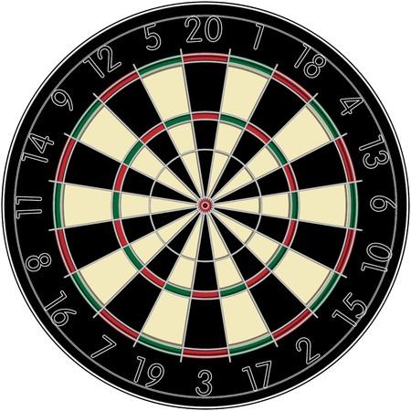 Realistic dart board over white background photo