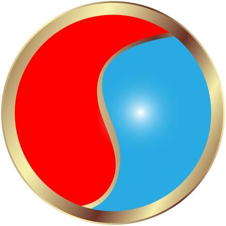 Yin and Yang glossy button Stock Photo - 7253288