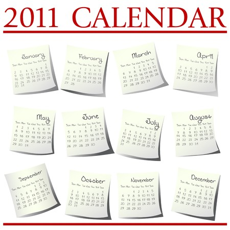 Calendar for 2011 on paper sheets Stock Photo - 7336212