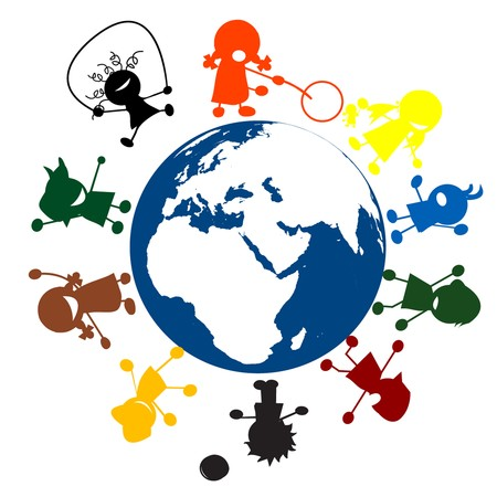 happy planet earth: Los ni�os felices y planeta tierra
