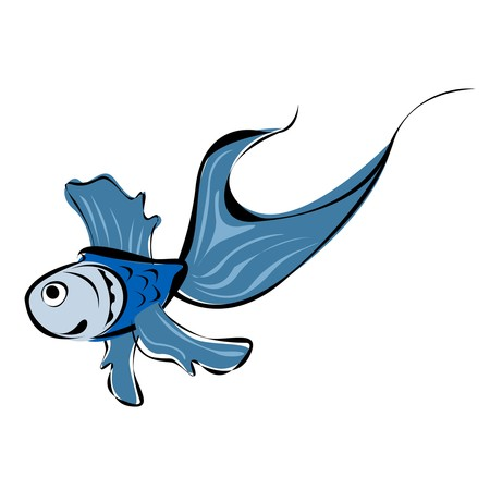 bluefish: Stylized sketch of a blue fish Stock Photo