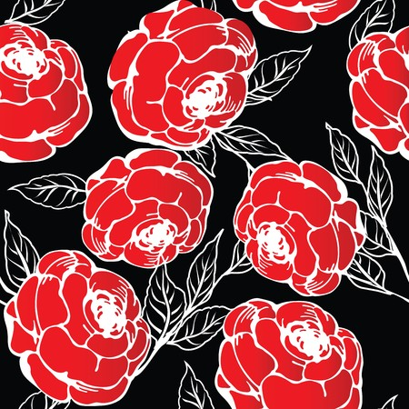 Red roses pattern, abstract background photo