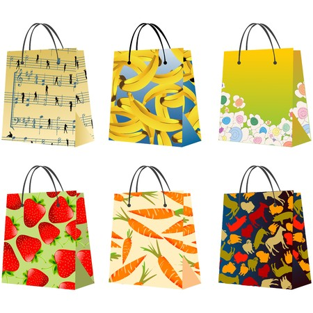 Shopping bags collection, isloated objects against white background Stock Photo - 7437985
