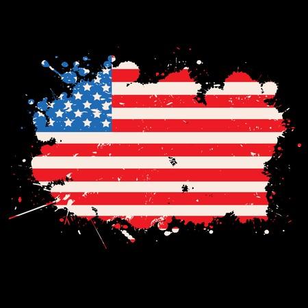 anthem: USA grunge flag over black background