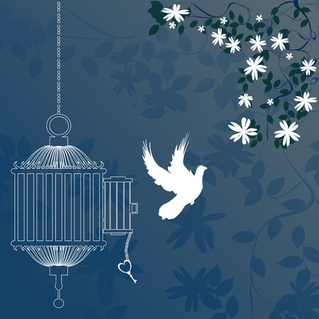 Bird and cage with cherry blossom tree 스톡 사진