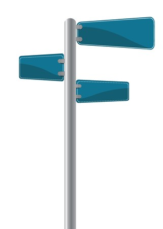 road position: Editable street signs over white Stock Photo