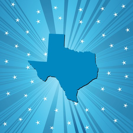 deisgn: Blue Texas map, abstract background for your design Stock Photo