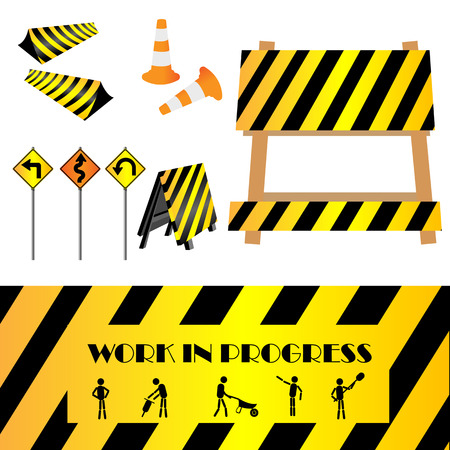 Construction warning signs, design elements photo