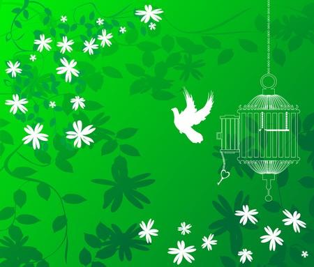key to freedom: Un fondo verde floral con un p�jaro volando fuera de la jaula