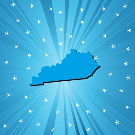 Blue  Kentucky map, abstract background for your design photo