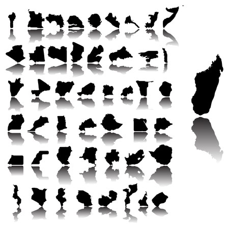 diagrammatic: Maps of Africa contries over white background