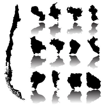 mapa de venezuela: Mapas de Am�rica del Sur sobre fondo blanco  Foto de archivo