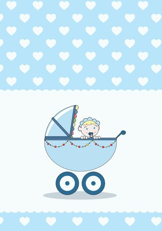 A baby girl in a stroller, baby annoucement card  Stock Photo