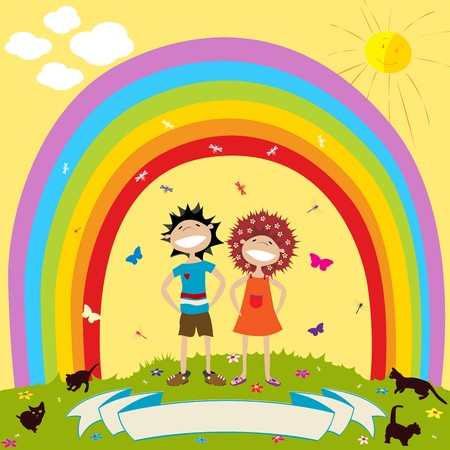 Children and rainbow with label for text photo
