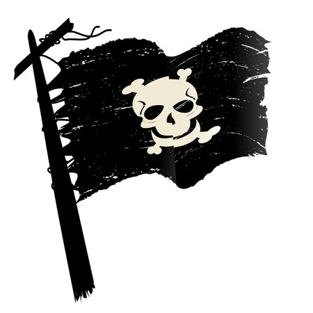 Sketch with pirate flag over white background photo