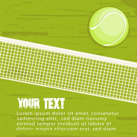 Grunge background with tennis ball. There is a place for your text. photo