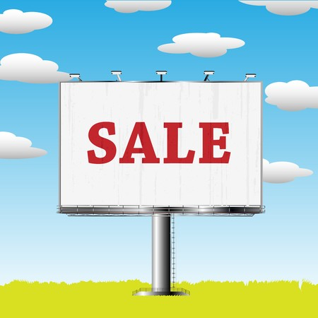Grand outdoor billboard with sale sign over cloud backgrouns Stock Photo - 7949251