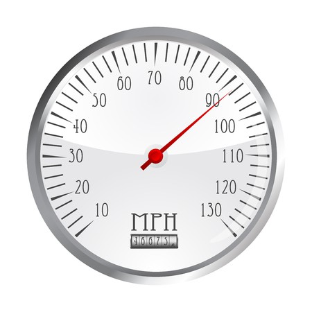 vintage car speedometer, isolated object over white background