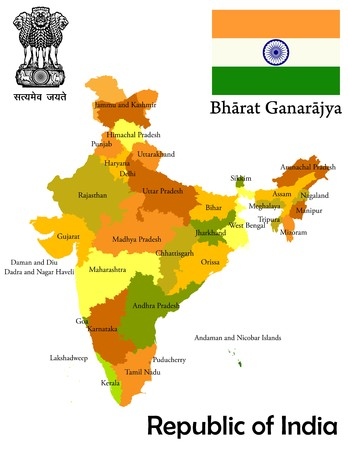 india flag: States and union teritories map of India, flag and national emblem