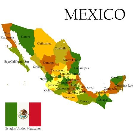 mexiko karte: Mexiko, USA. Administrative Karte und Flagge.