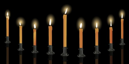 Nine candle menorah over black background, Hanukkah decoration Stock Photo - 8084561
