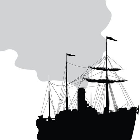 stern: Steam ship silhouette over white background