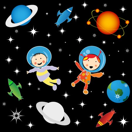 Boy and girl astronauts in cosmos, character development graphic photo