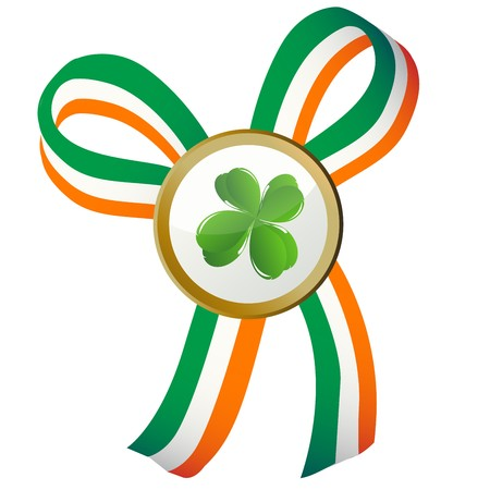 Four leaves clover badge and Ireland flag ribbon Stock Photo - 8084582