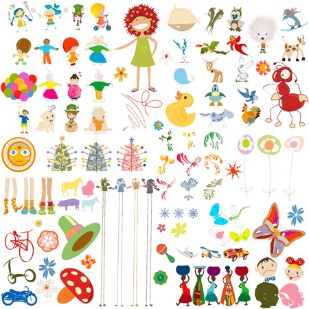 Decorative cartoon characters collection, design elements over white background photo