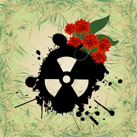Abstract grunge background with nuclear hazzard sign Stock Vector - 8104192