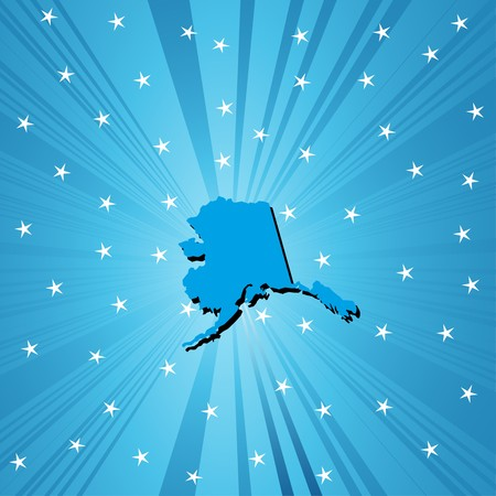 Blue Alaska map, abstract background for your design Vector